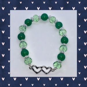 Green Green Crackle and Silver Bracelet